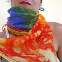 nuno felted scarf -She's like a Rainbow-
