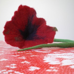 felted flower hair decoration -sad witch-
