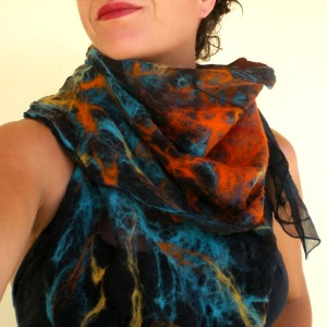 nuno felted scarf -Mexican moon- 1