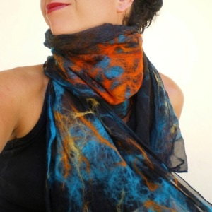 nuno felted scarf -Mexican moon- 4