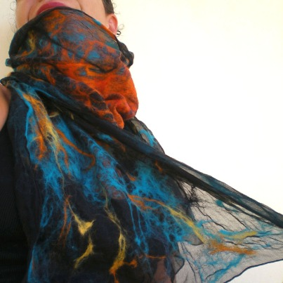 nuno felted scarf -Mexican moon- 2