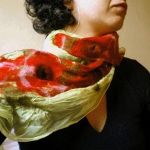 nuno felted scarf -painting and kissing-