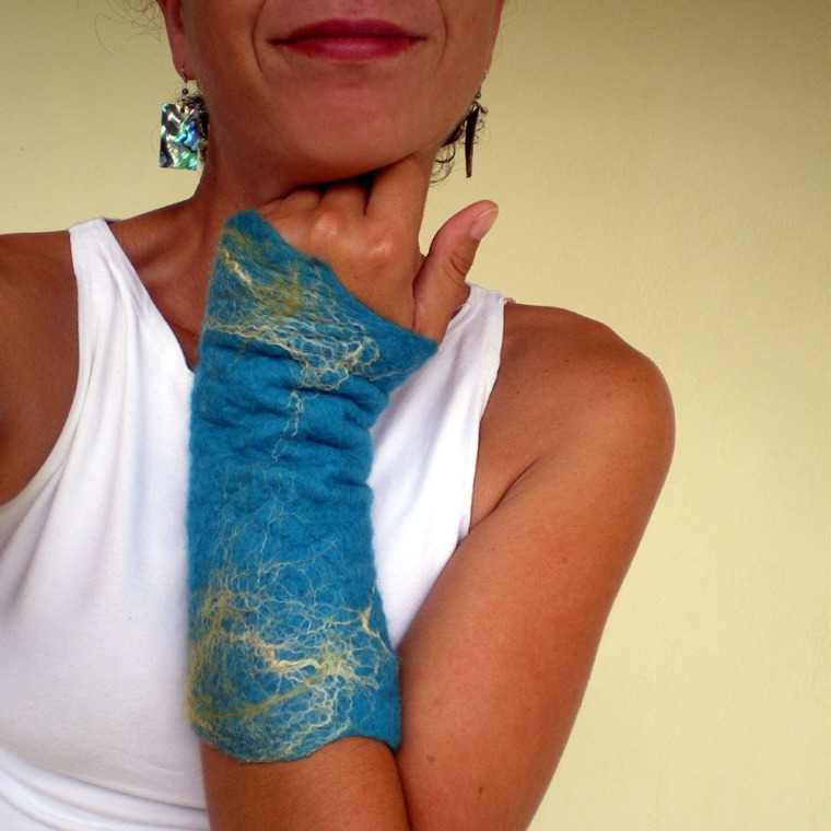 felted arm warmers -this is the sea-