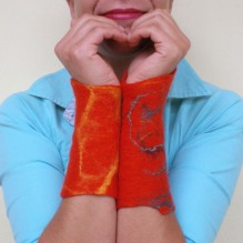 felted wrist warmers -to hide a little thought-