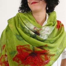 nuno felted scarf-shawl -Colors and the Kids-