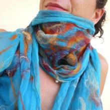 nuno felted scarf -Aegean-