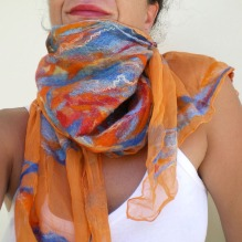 nuno felted scarf -silk and soul-