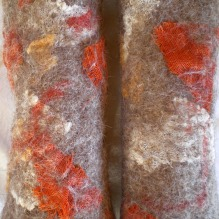 nuno felted arm warmers -autumn leaves-