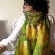 cobweb felted scarf -lemon flower-