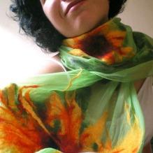 nuno felted scarf -sweet sixteen-