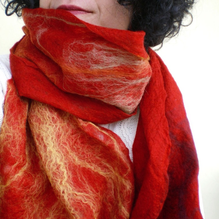 cobweb felted scarf -Sea of Love-