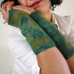 felted arm warmers -trees of green-