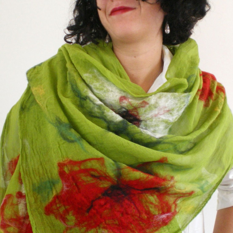 nuno felted scarf-shawl - Colors and the Kids-