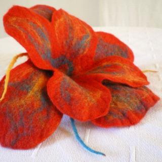 felted flower brooch -Sunday morning-