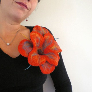felted flower brooch -Sunday morning-