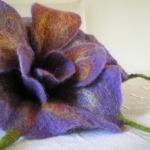 felted flower brooch -purple rain-
