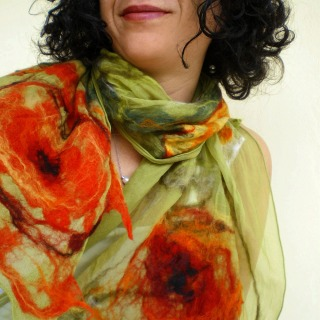 nuno felted scarf -wondrous place-