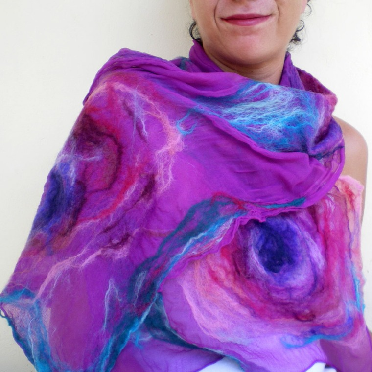 nuno felted scarf -Lost in Love-