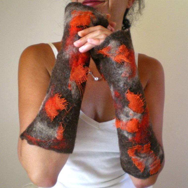 nuno felted arm warmers -autumn-