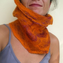 felted neck warmer -fields of gold-