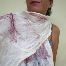 cobweb felted scarf -white snow-