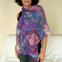 nuno felted scarf -lilac wine-