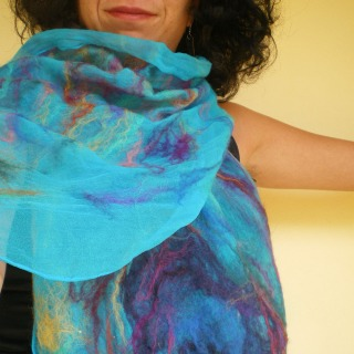nuno felted scarf -peacock feather-