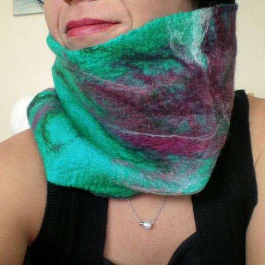 felted neck warmer -somewhere over the rainbow-
