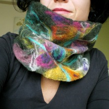 felted neck warmer -Saw you flying by-
