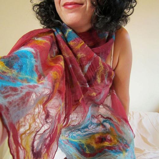 nuno felted scarf -Nostalgia-