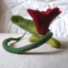 felted flower hair decoration barrette clip -the return of the sad witch-