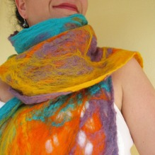 cobweb felted scarf -summer in the light-