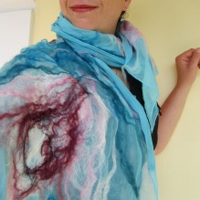 nuno felted scarf -waves-