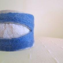felted cuff - bracelet -blue lagoon-