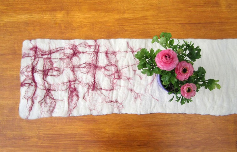felted table runner -floating spring-