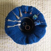 felted pot -blue wool-