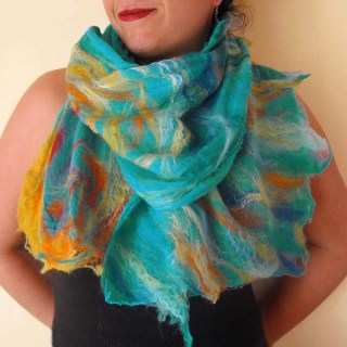 nuno felted scarf: summer elements -aqua-
