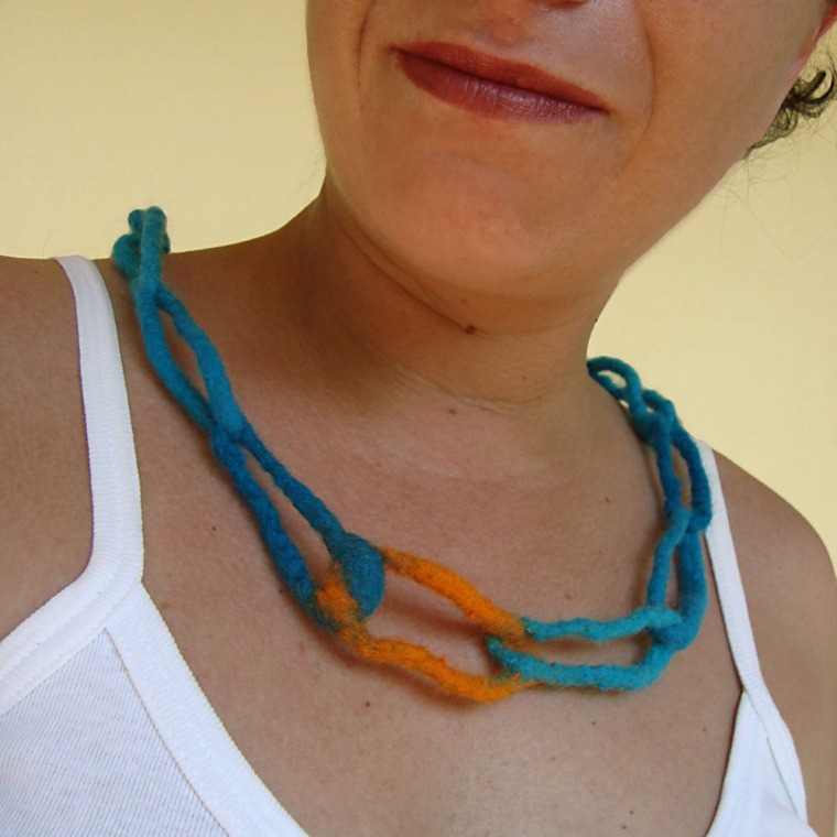 felted necklace -sea sunset-