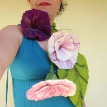felted flower necklace -sacred dance-