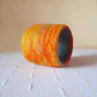 felted cuff - bracelet -Orange colored sky-