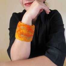 felted cuff - bracelet -Orange colored sky-