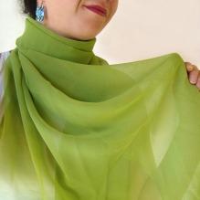 chiffon muslin scarf -grass green-
