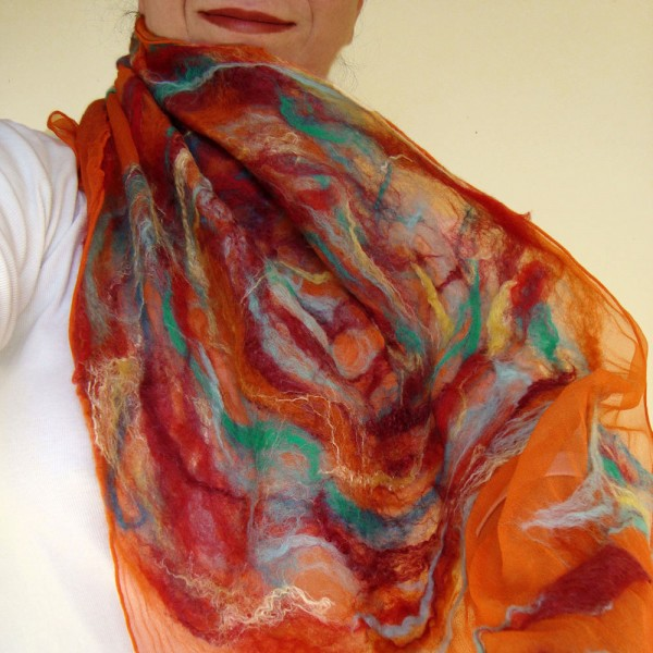 nuno felted scarf -set fire to the rain-