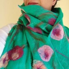 cobweb felted scarf -almond blossom-