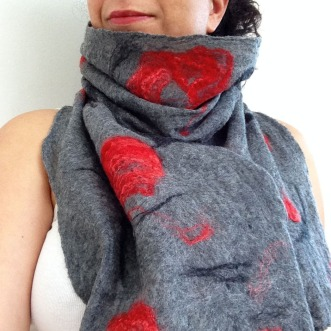 cobweb felted scarf -winter garden-