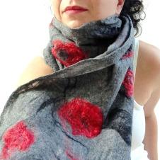 cobweb felted scarf -winter garden-