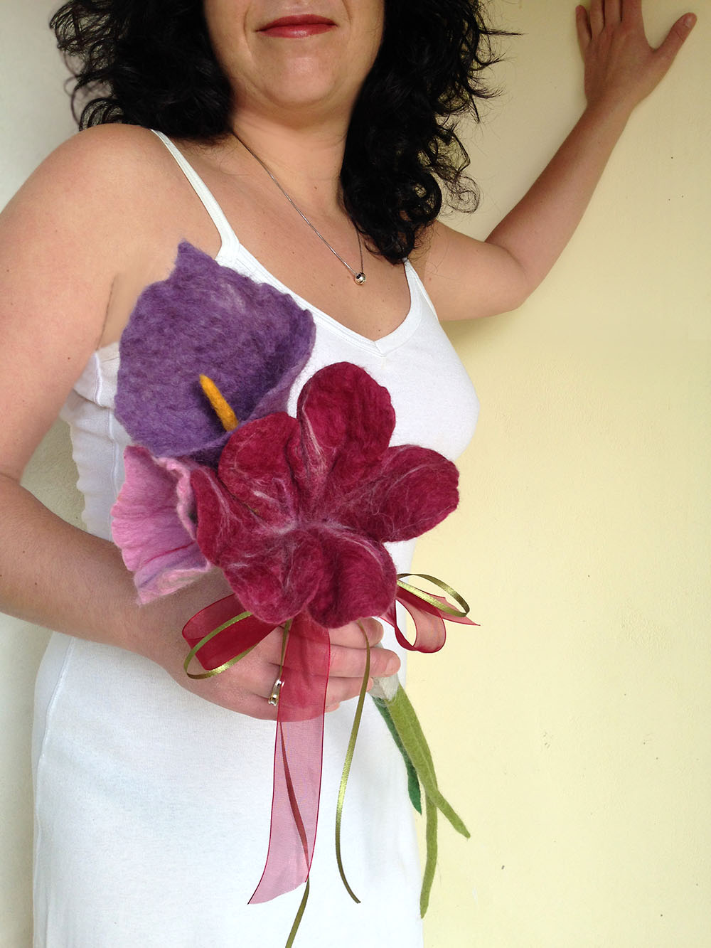 Felted Flower Bouquet Bridal Moments Made To Order Qaraquls Shop