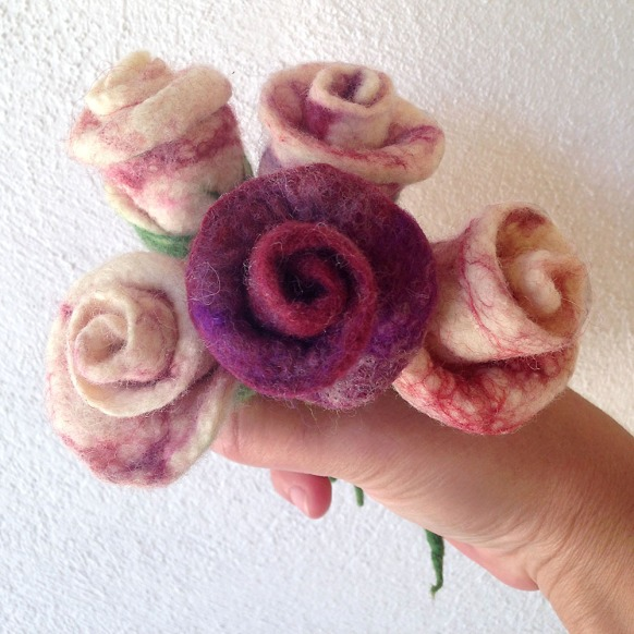 felted boutonniere -groom's rose-