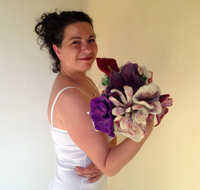 Felted flower bouquets -bridesmaids- made to order