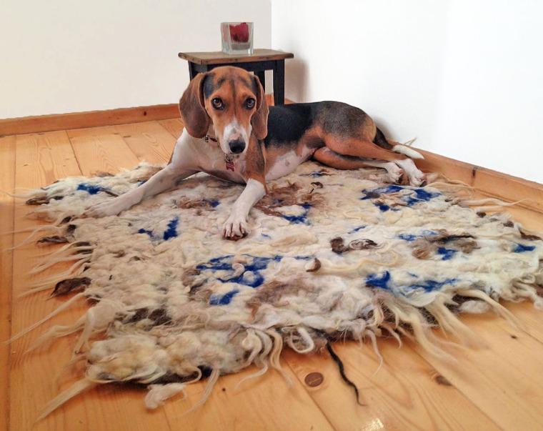 hand felted rug -affogato-
